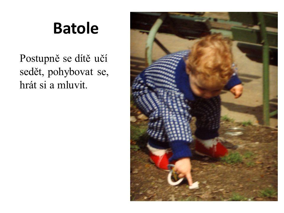 Batole Postupně se dítě učí sedět, pohybovat se, hrát si a mluvit.
