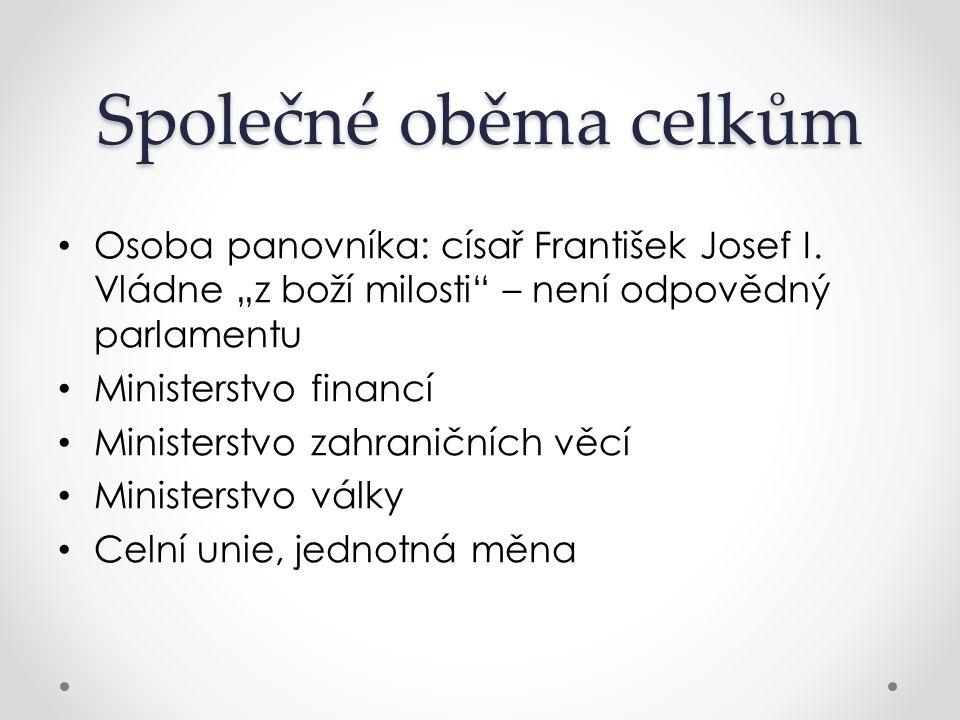 """Společné oběma celkům Osoba panovníka: císař František Josef I. Vládne """"z boží milosti – není odpovědný parlamentu."""