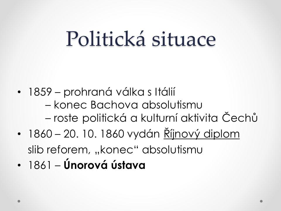 Politická situace 1859 – prohraná válka s Itálií – konec Bachova absolutismu – roste politická a kulturní aktivita Čechů.