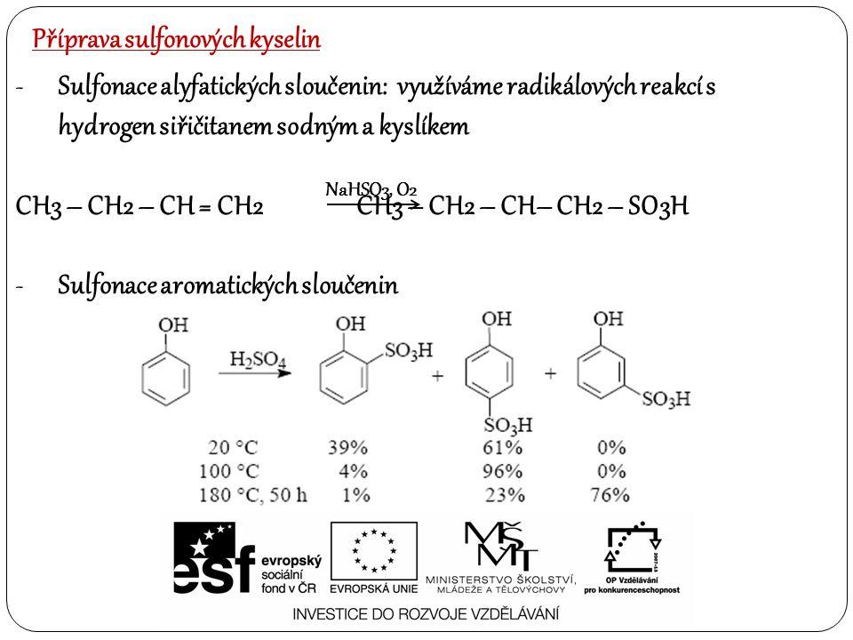 Příprava sulfonových kyselin