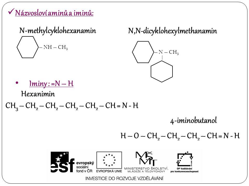 Názvosloví aminů a iminů: