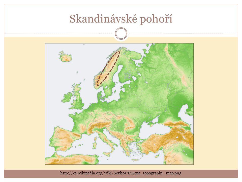 Skandinávské pohoří http://cs.wikipedia.org/wiki/Soubor:Europe_topography_map.png