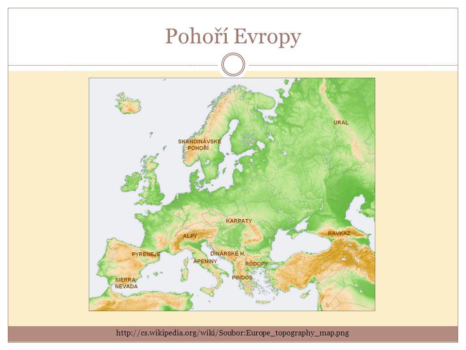Pohoří Evropy http://cs.wikipedia.org/wiki/Soubor:Europe_topography_map.png