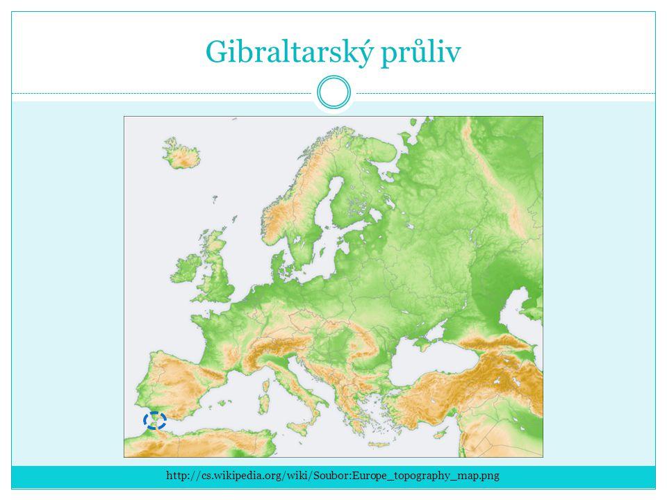 Gibraltarský průliv http://cs.wikipedia.org/wiki/Soubor:Europe_topography_map.png