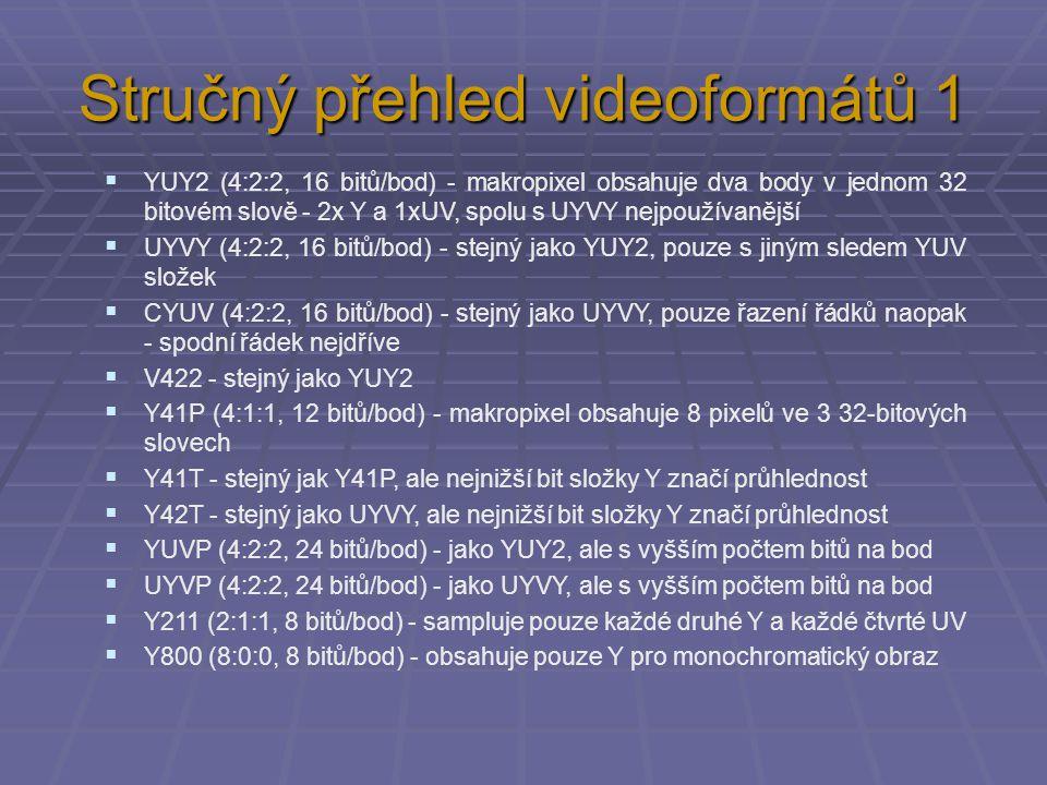 Stručný přehled videoformátů 1