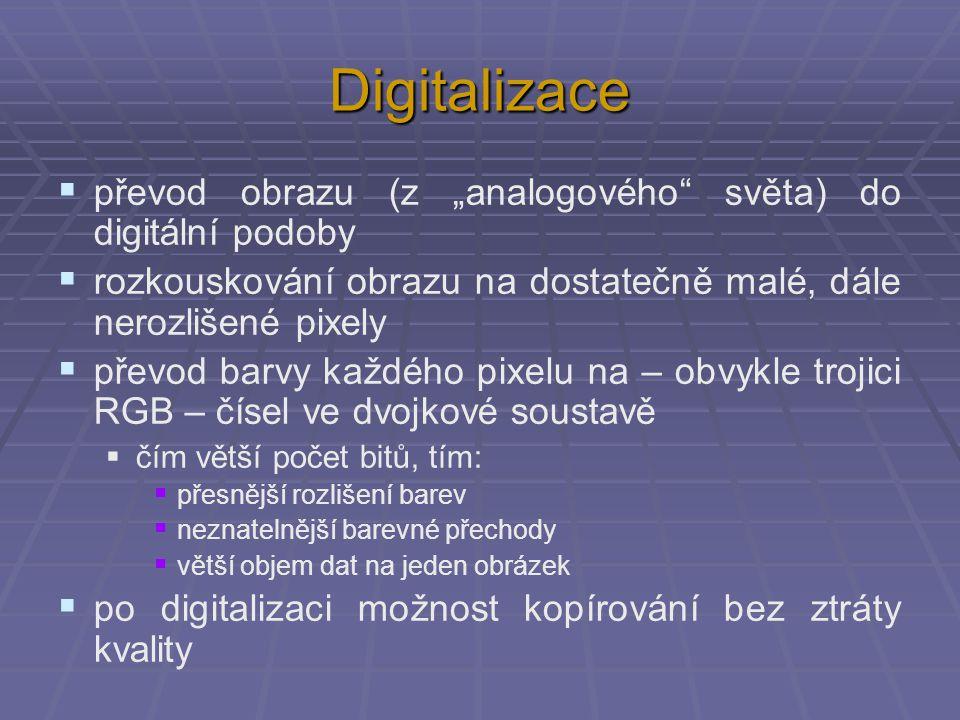 """Digitalizace převod obrazu (z """"analogového světa) do digitální podoby"""