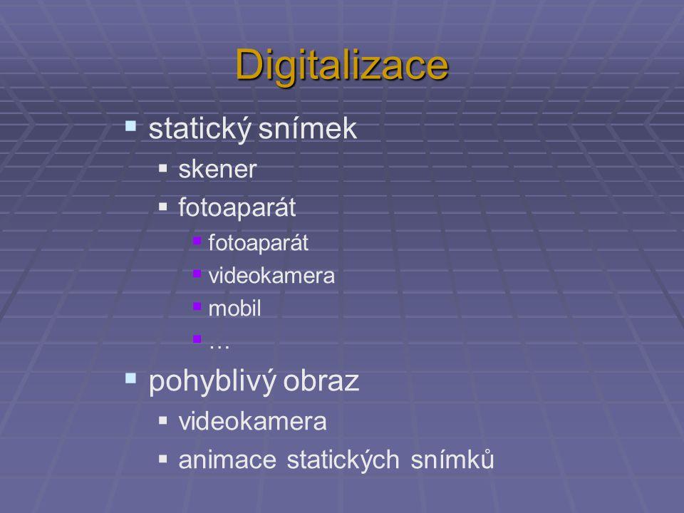 Digitalizace statický snímek pohyblivý obraz skener fotoaparát