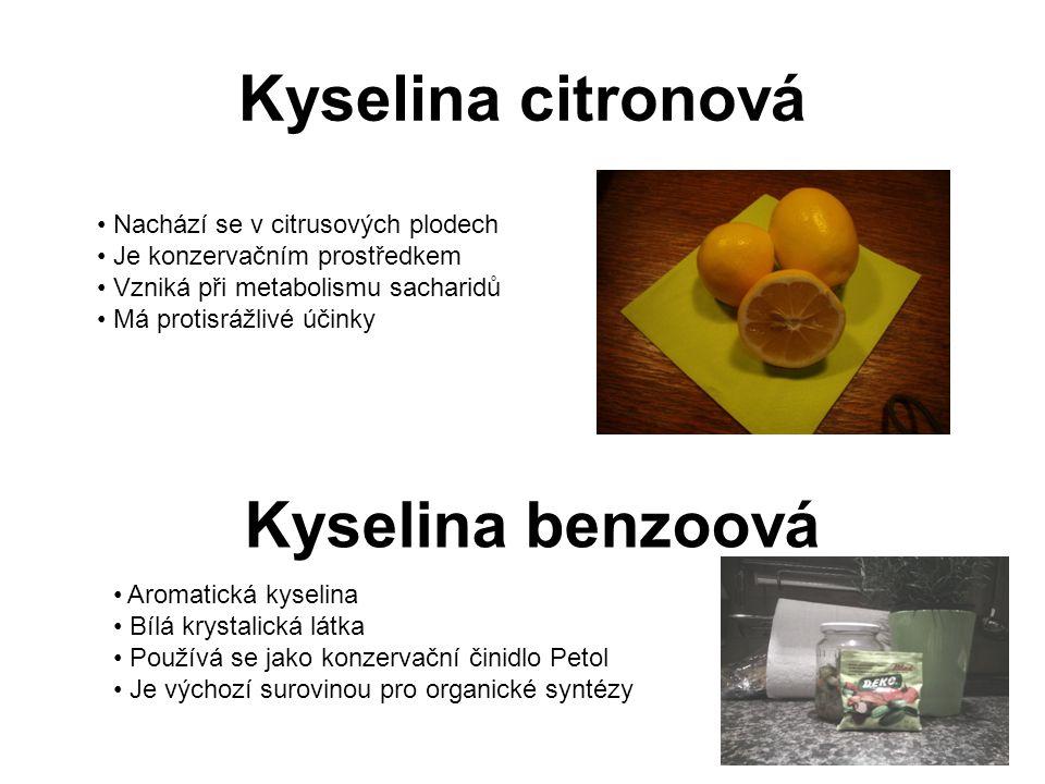 Kyselina citronová Kyselina benzoová