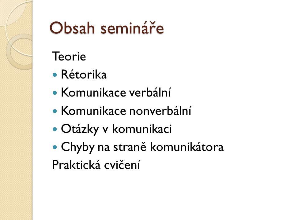 Obsah semináře Teorie Rétorika Komunikace verbální