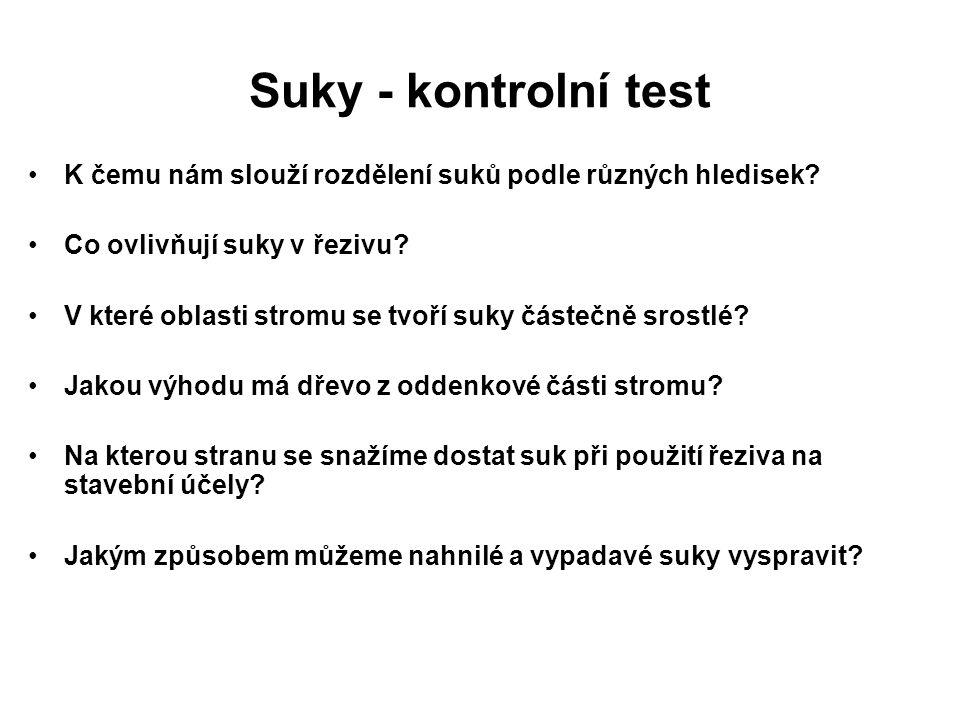 Suky - kontrolní test K čemu nám slouží rozdělení suků podle různých hledisek Co ovlivňují suky v řezivu