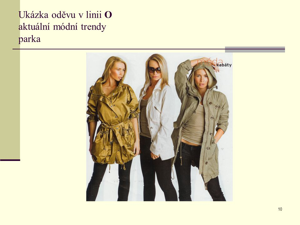 Ukázka oděvu v linii O aktuální módní trendy parka