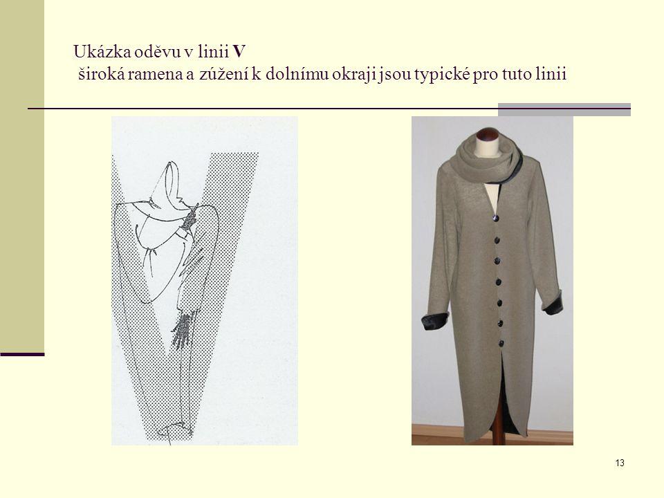 Ukázka oděvu v linii V široká ramena a zúžení k dolnímu okraji jsou typické pro tuto linii