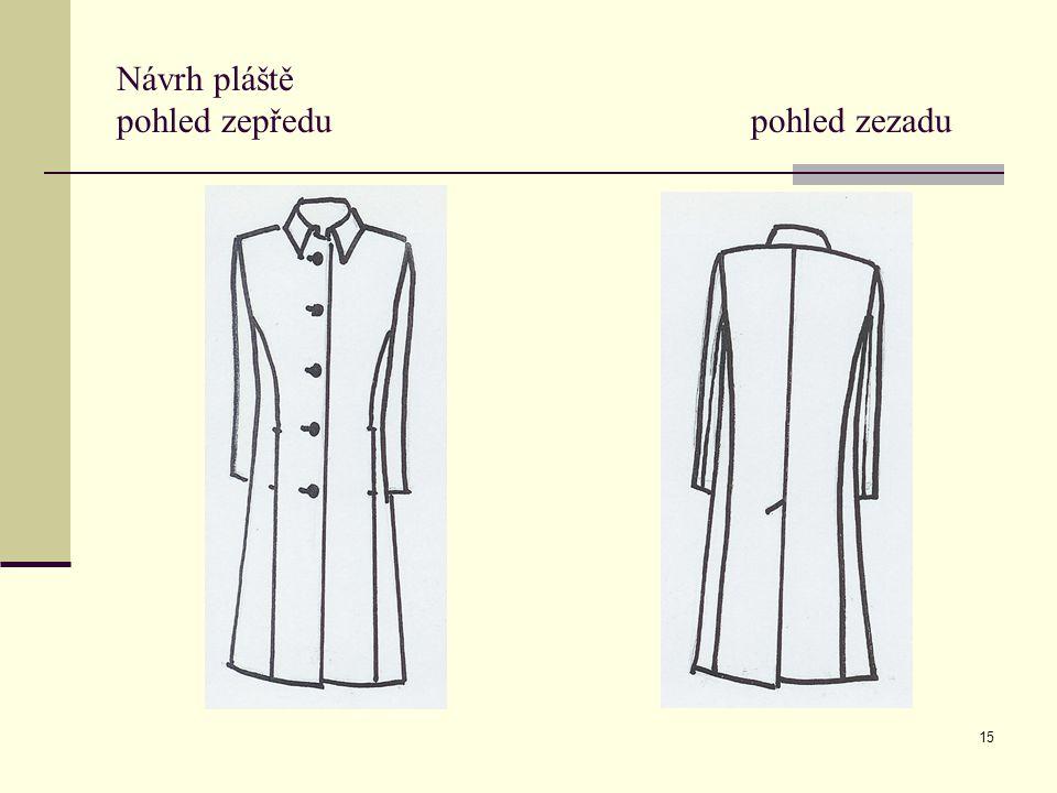 Návrh pláště pohled zepředu pohled zezadu