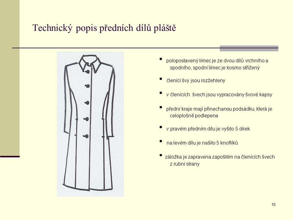 Technický popis předních dílů pláště