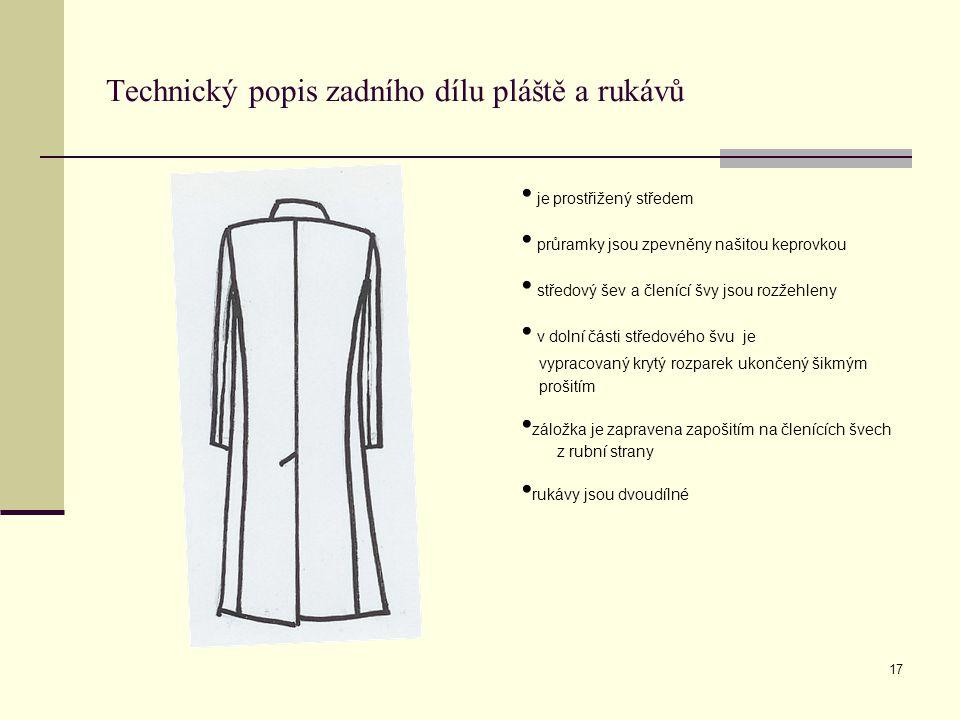 Technický popis zadního dílu pláště a rukávů