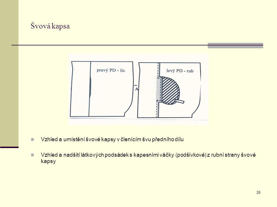 Švová kapsa Vzhled a umístění švové kapsy v členícím švu předního dílu