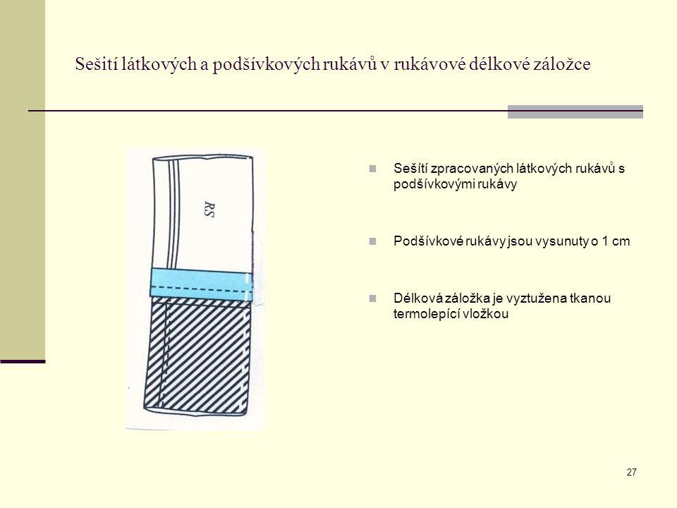 Sešití látkových a podšívkových rukávů v rukávové délkové záložce