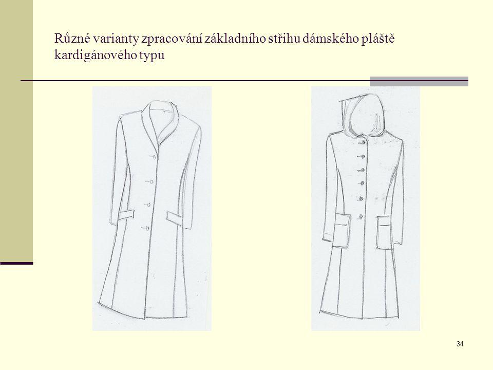 Různé varianty zpracování základního střihu dámského pláště kardigánového typu