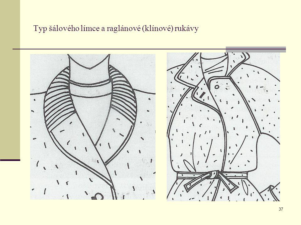 Typ šálového límce a raglánové (klínové) rukávy