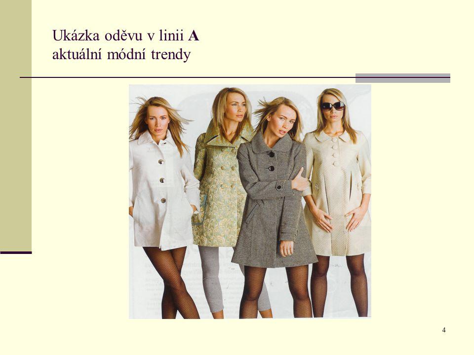 Ukázka oděvu v linii A aktuální módní trendy