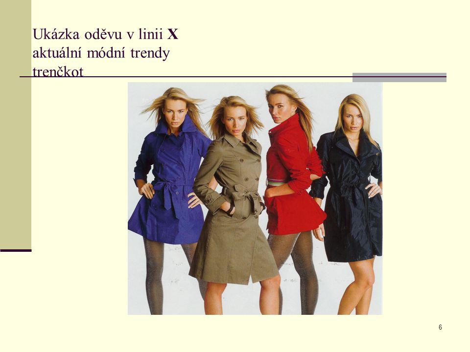 Ukázka oděvu v linii X aktuální módní trendy trenčkot