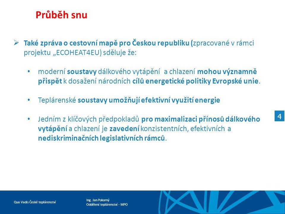 """Průběh snu Také zpráva o cestovní mapě pro Českou republiku (zpracované v rámci projektu """"ECOHEAT4EU) sděluje že:"""