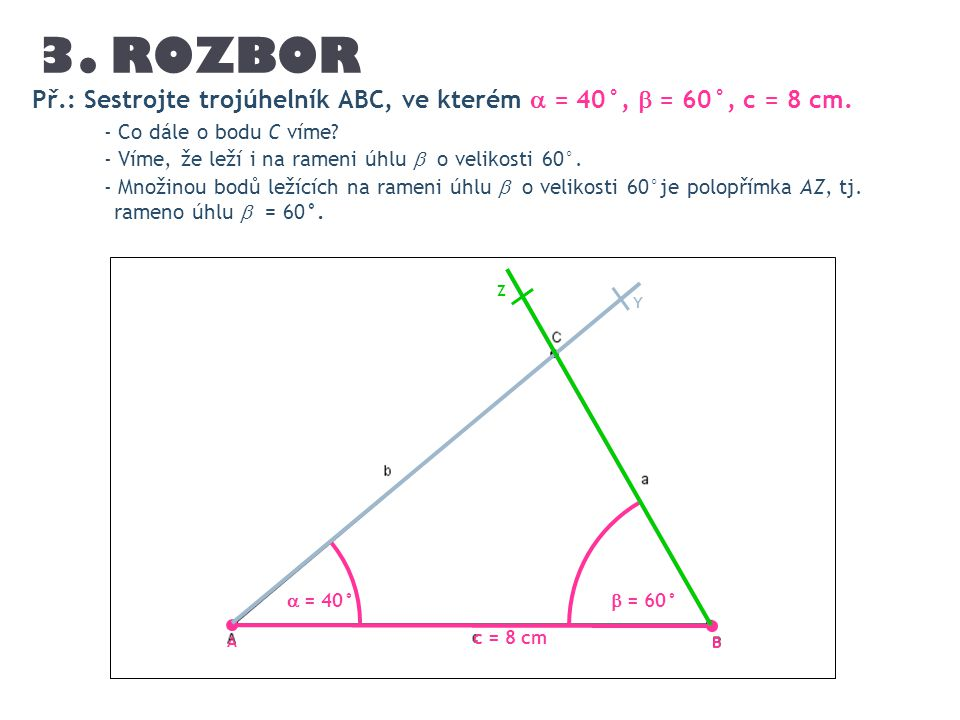3. ROZBOR Př.: Sestrojte trojúhelník ABC, ve kterém  = 40°,  = 60°, c = 8 cm. - Co dále o bodu C víme