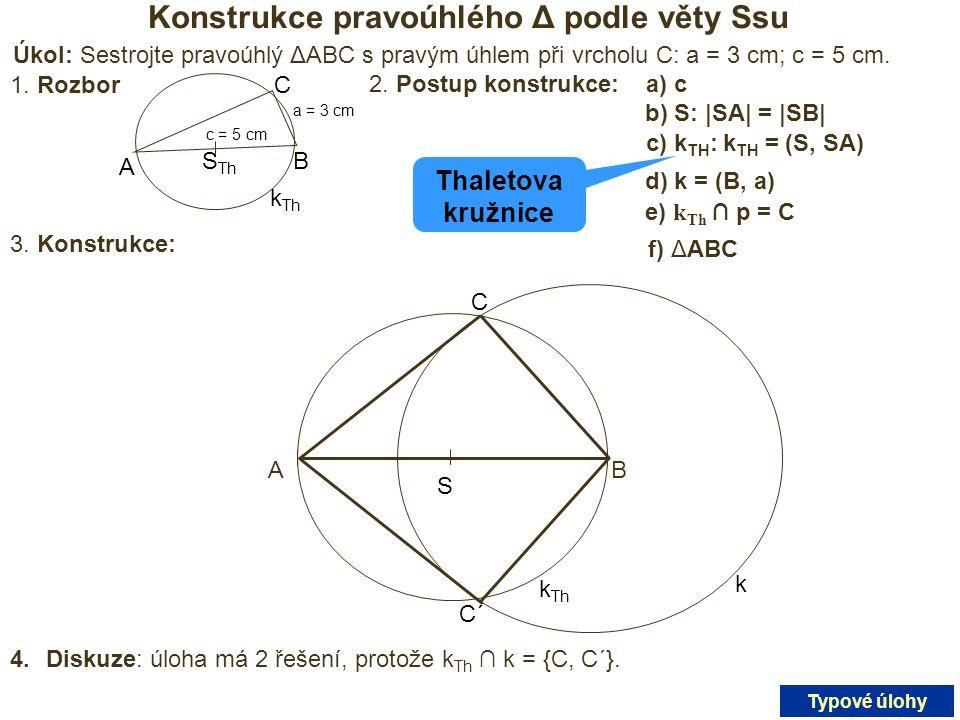 Konstrukce pravoúhlého Δ podle věty Ssu