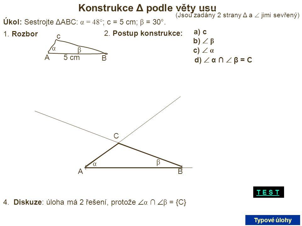 Konstrukce Δ podle věty usu
