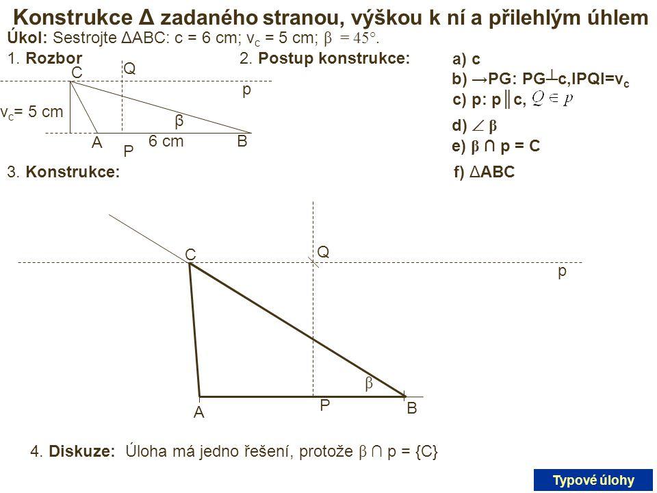 Konstrukce Δ zadaného stranou, výškou k ní a přilehlým úhlem