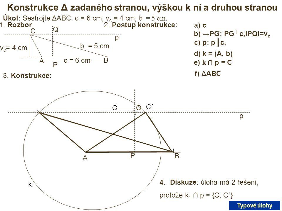 Konstrukce Δ zadaného stranou, výškou k ní a druhou stranou