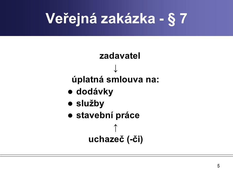 Veřejná zakázka - § 7 ↓ úplatná smlouva na: dodávky služby
