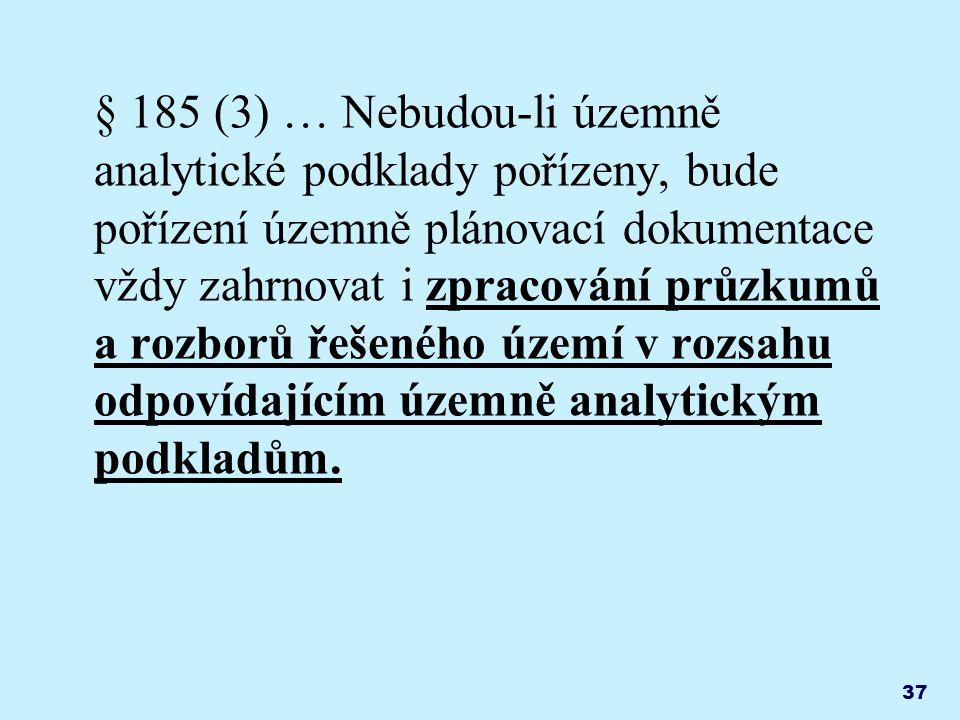 § 185 (3) … Nebudou-li územně analytické podklady pořízeny, bude pořízení územně plánovací dokumentace vždy zahrnovat i zpracování průzkumů a rozborů řešeného území v rozsahu odpovídajícím územně analytickým podkladům.