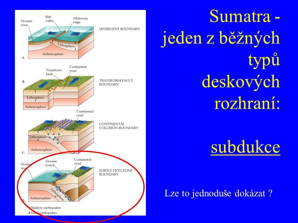 Sumatra - jeden z běžných typů deskových rozhraní: subdukce