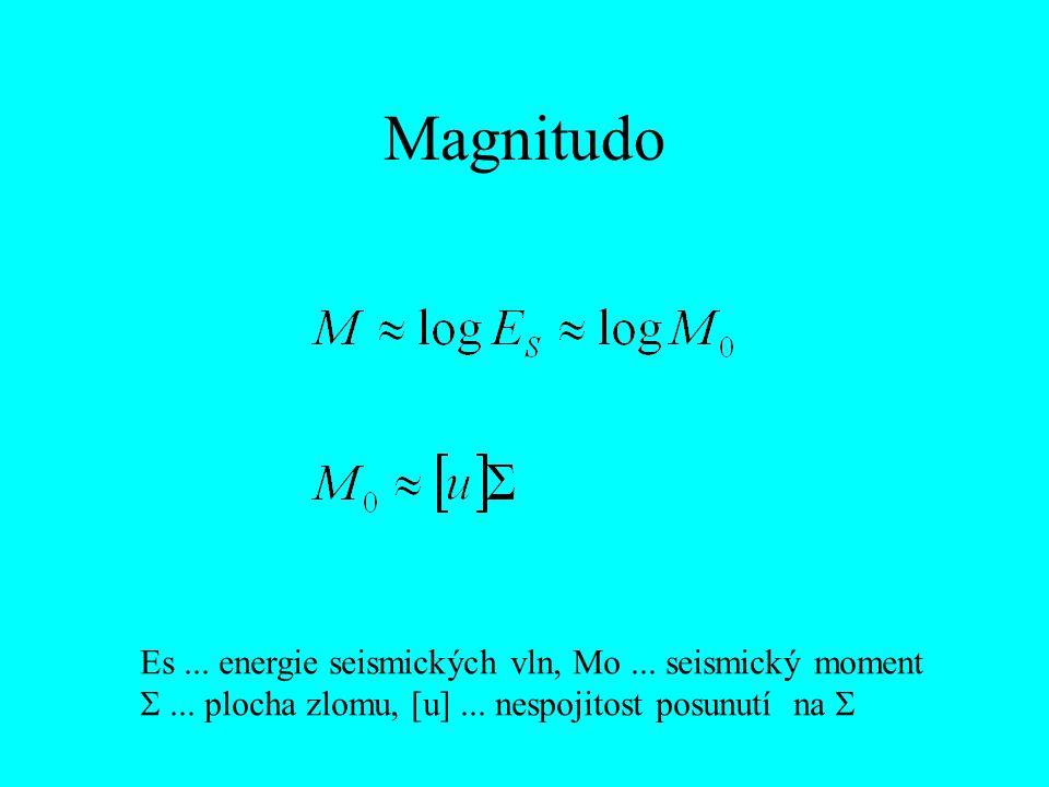 Magnitudo Es ... energie seismických vln, Mo ... seismický moment