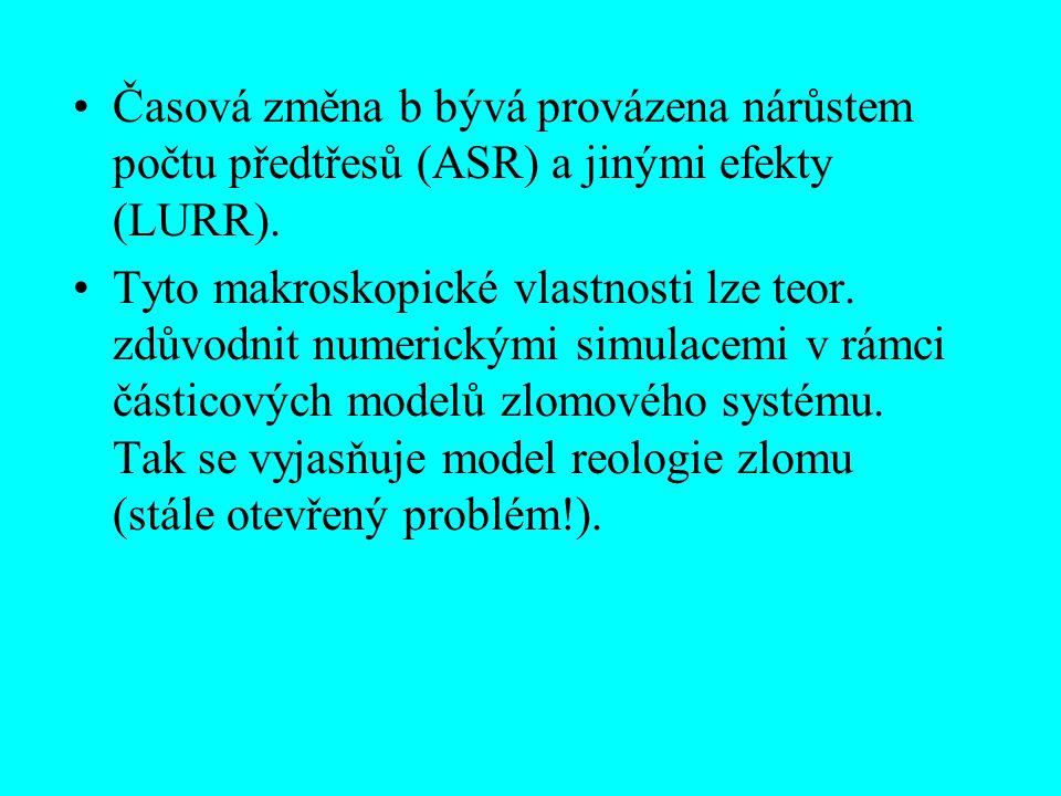 Časová změna b bývá provázena nárůstem počtu předtřesů (ASR) a jinými efekty (LURR).