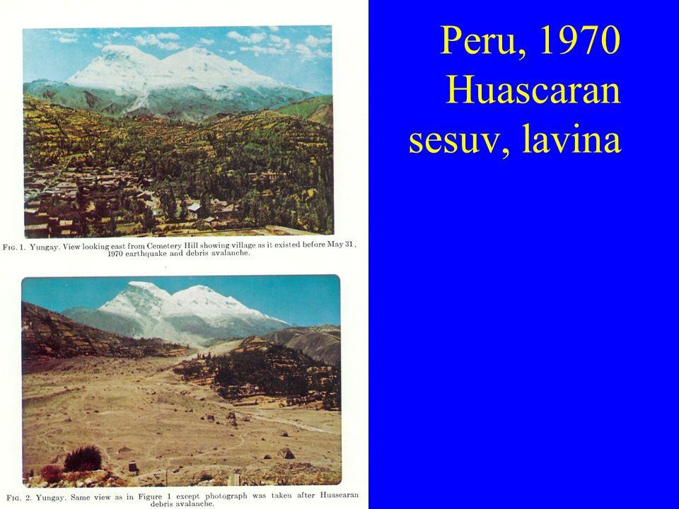 Peru, 1970 Huascaran sesuv, lavina
