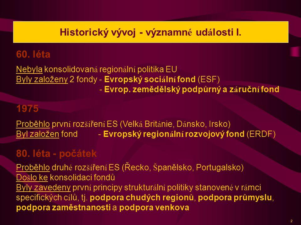 Historický vývoj - významné události I.