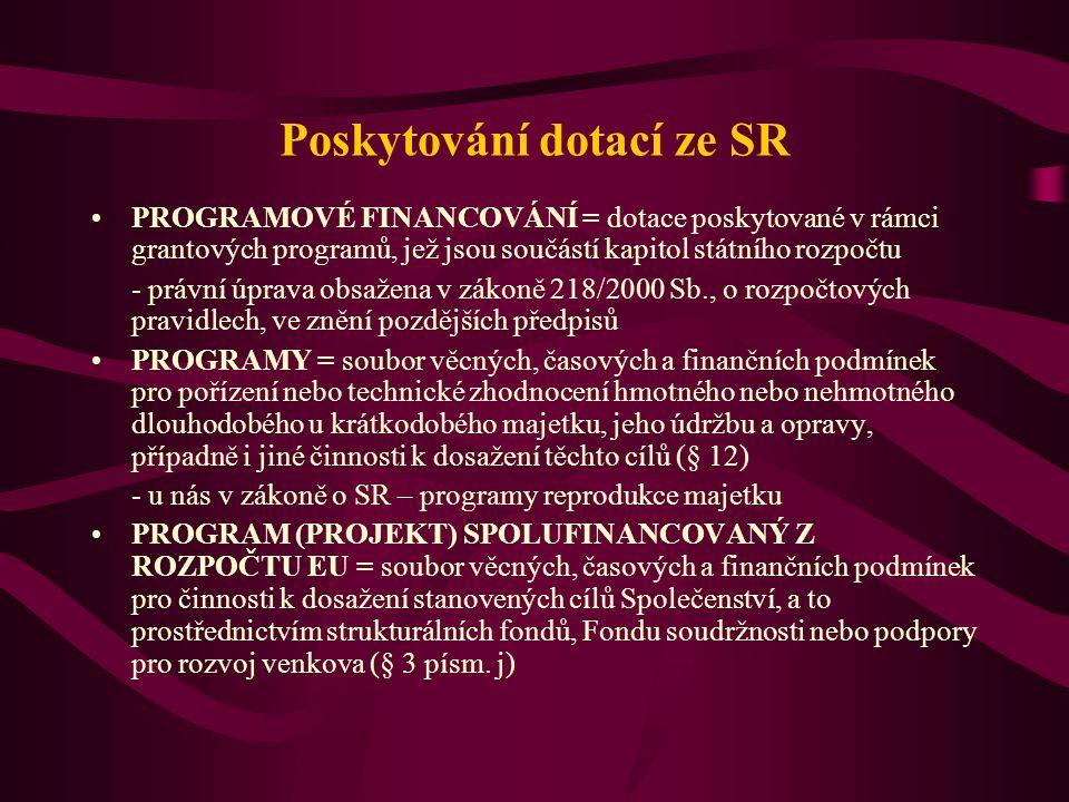 Poskytování dotací ze SR
