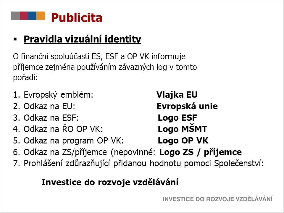 Publicita Pravidla vizuální identity Evropský emblém: Vlajka EU