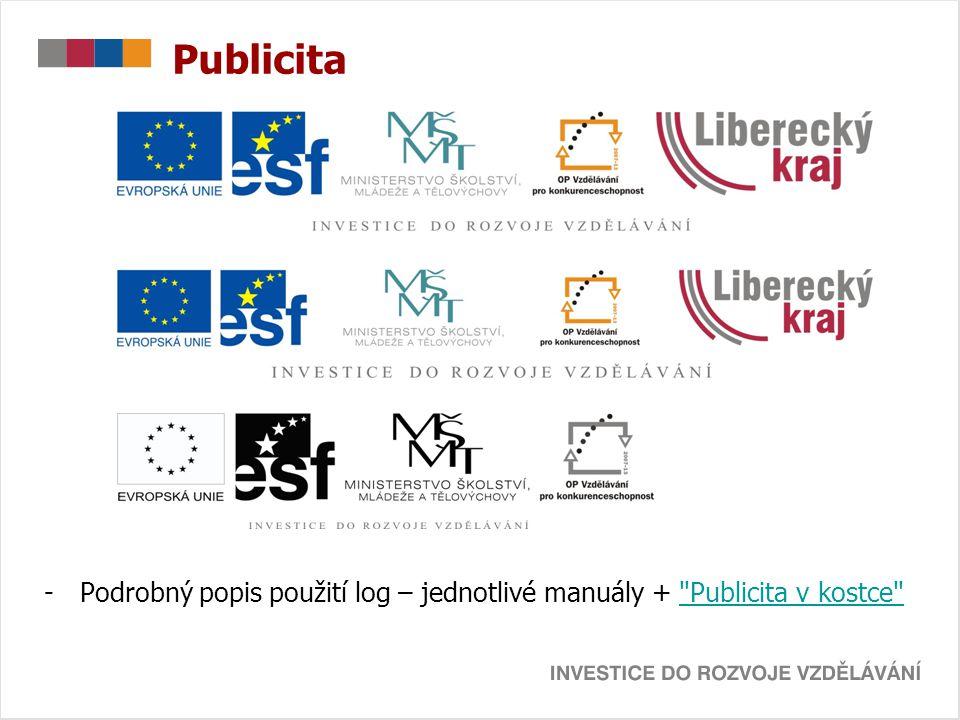Publicita Podrobný popis použití log – jednotlivé manuály + Publicita v kostce
