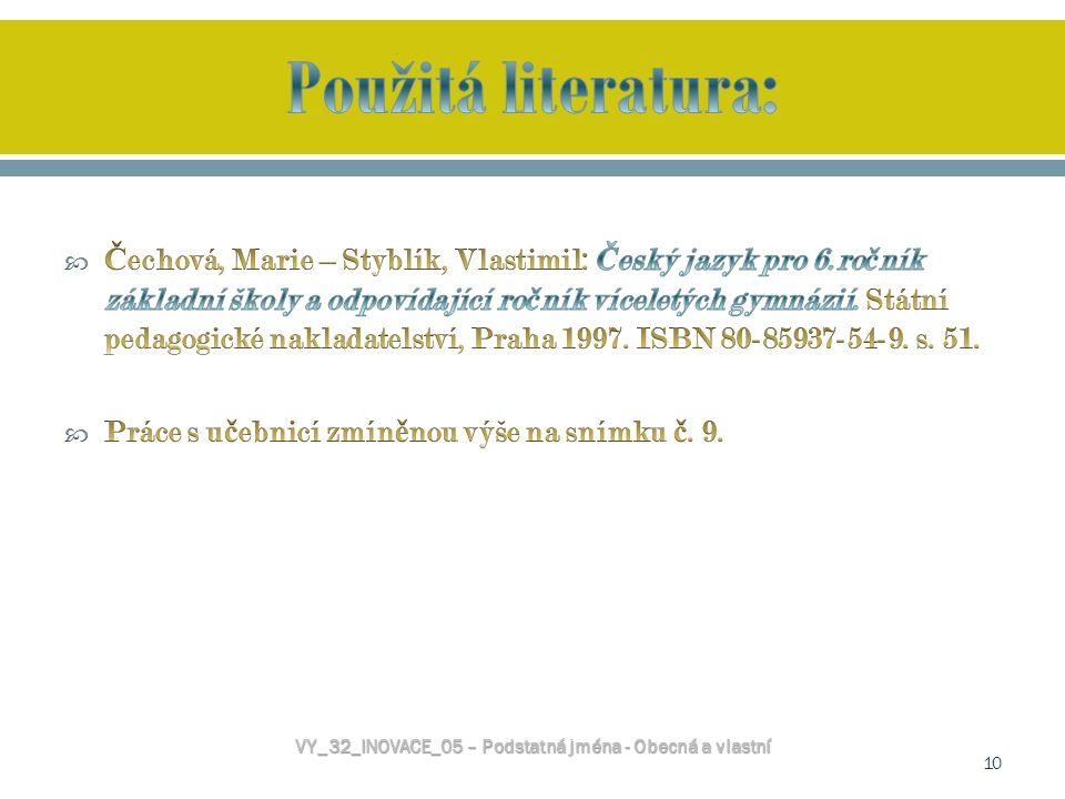 VY_32_INOVACE_05 – Podstatná jména - Obecná a vlastní