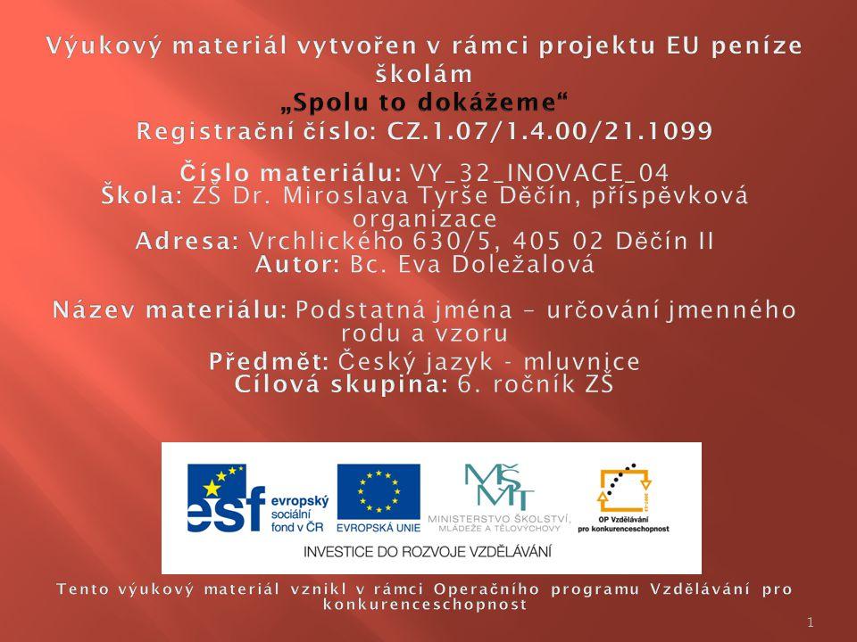Předmět: Český jazyk - mluvnice Cílová skupina: 6. ročník ZŠ