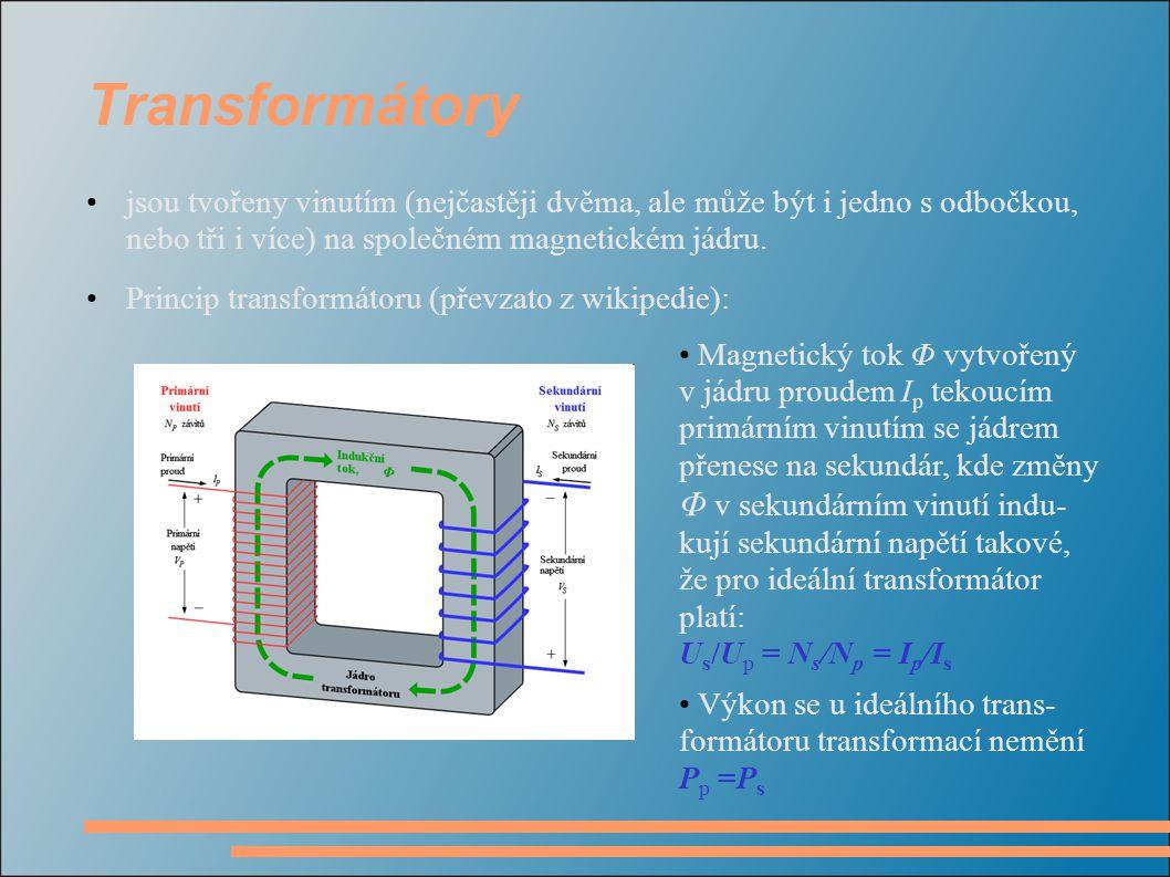 Transformátory jsou tvořeny vinutím (nejčastěji dvěma, ale může být i jedno s odbočkou, nebo tři i více) na společném magnetickém jádru.