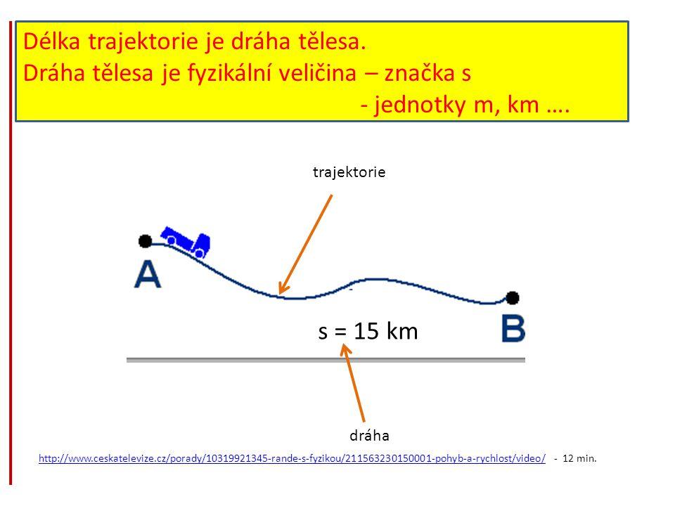 Délka trajektorie je dráha tělesa.