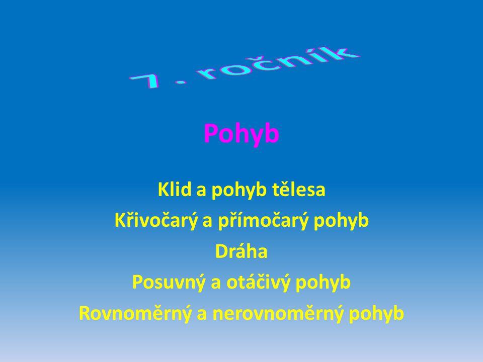 7. ročník Pohyb Klid a pohyb tělesa Křivočarý a přímočarý pohyb Dráha