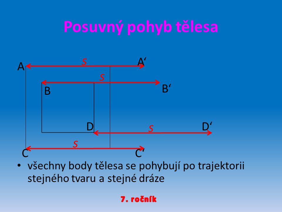 Posuvný pohyb tělesa s s s s A' A B' B D D' C C'