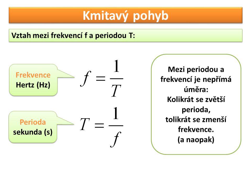 Kmitavý pohyb Vztah mezi frekvencí f a periodou T: