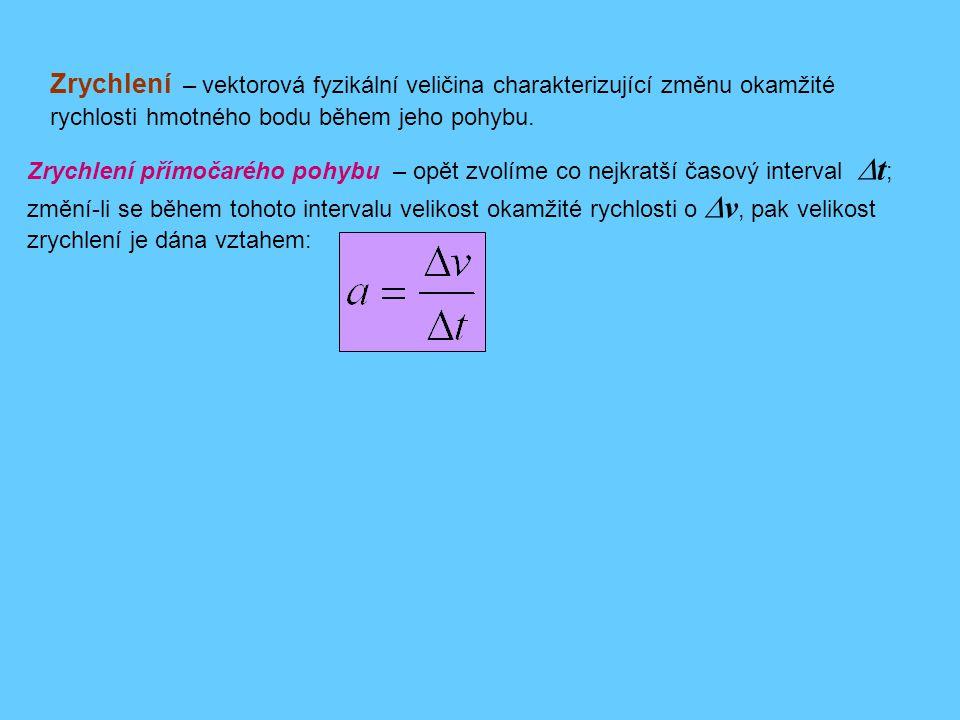 Zrychlení – vektorová fyzikální veličina charakterizující změnu okamžité rychlosti hmotného bodu během jeho pohybu.