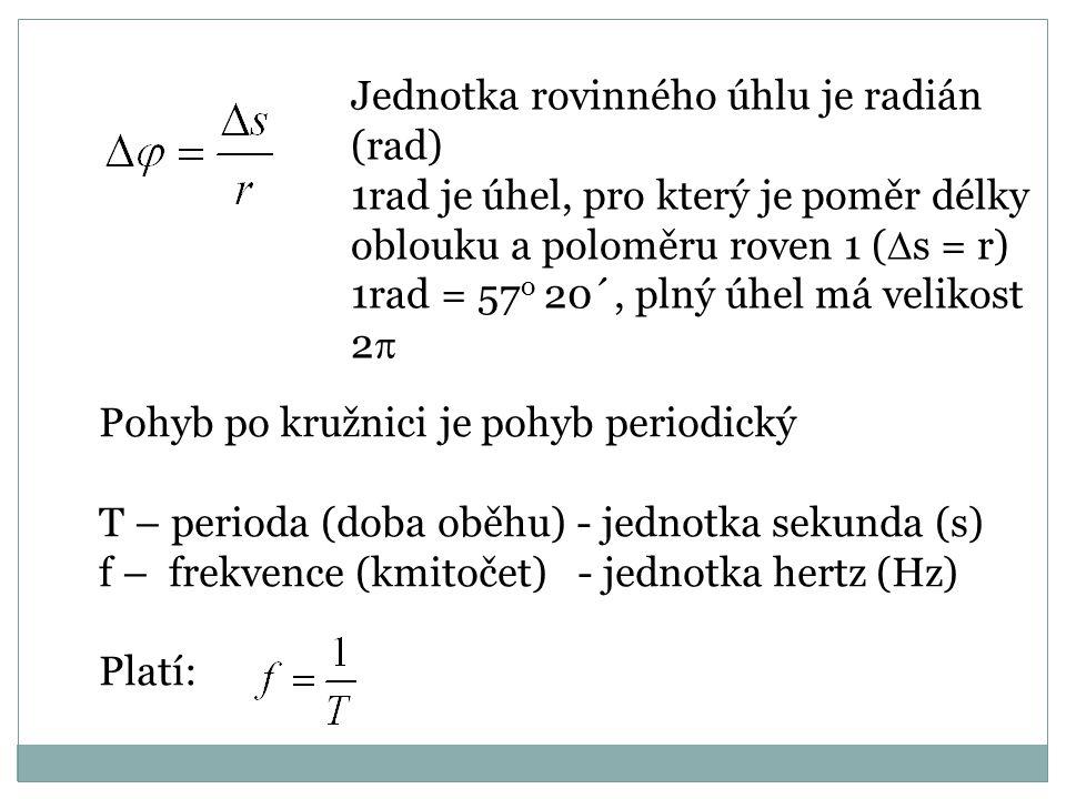 Jednotka rovinného úhlu je radián (rad)
